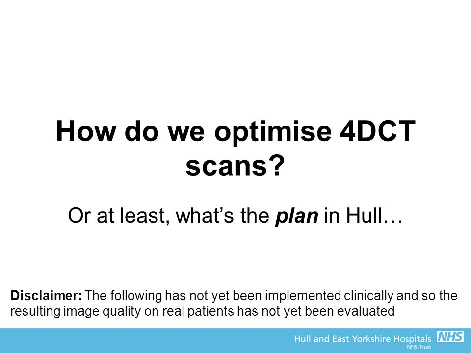 How do we optimise 4DCT scans