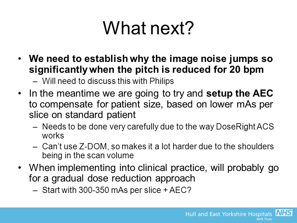 What next We need to establish why the image noise jumps so significantly when the pitch is reduced for 20 bpm.