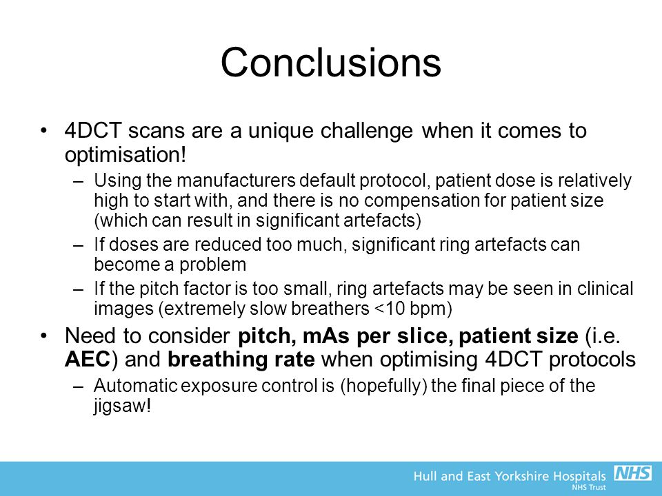 Conclusions 4DCT scans are a unique challenge when it comes to optimisation!