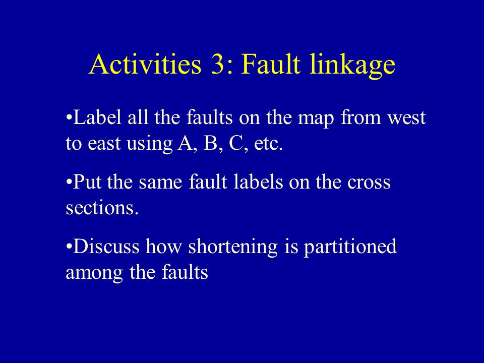 Activities 3: Fault linkage