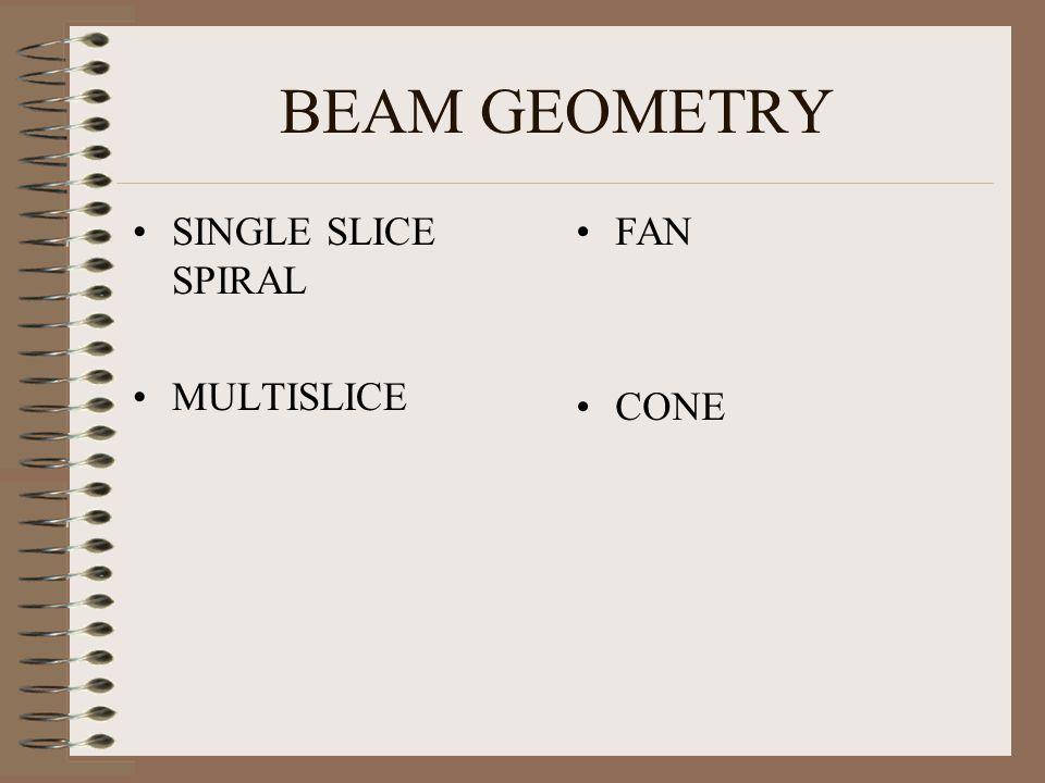 BEAM GEOMETRY SINGLE SLICE SPIRAL MULTISLICE FAN CONE
