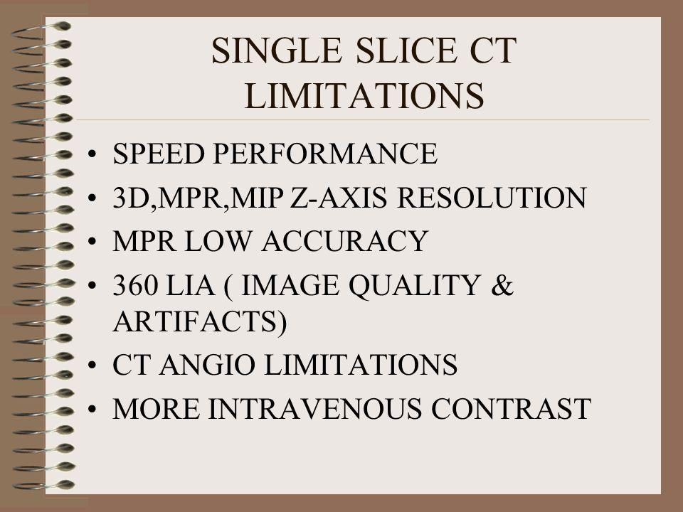 SINGLE SLICE CT LIMITATIONS