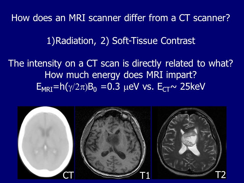 How does an MRI scanner differ from a CT scanner