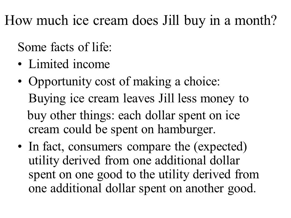How much ice cream does Jill buy in a month