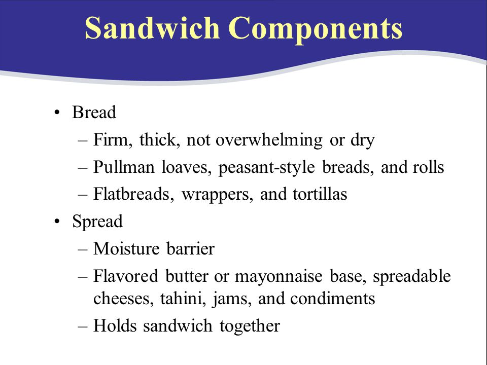 Sandwich Components Bread Firm, thick, not overwhelming or dry