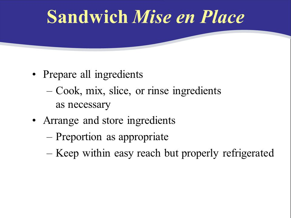 Sandwich Mise en Place Prepare all ingredients