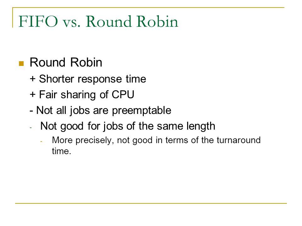 FIFO vs. Round Robin Round Robin + Shorter response time