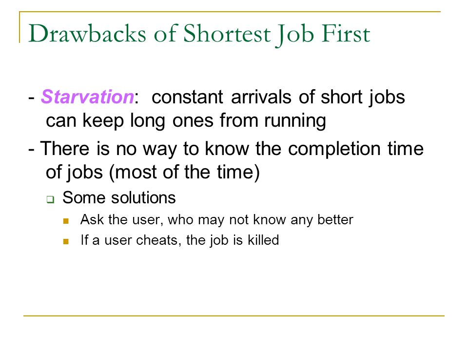 Drawbacks of Shortest Job First