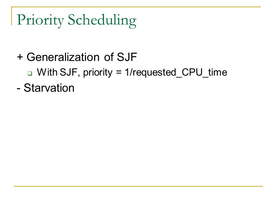 Priority Scheduling + Generalization of SJF - Starvation