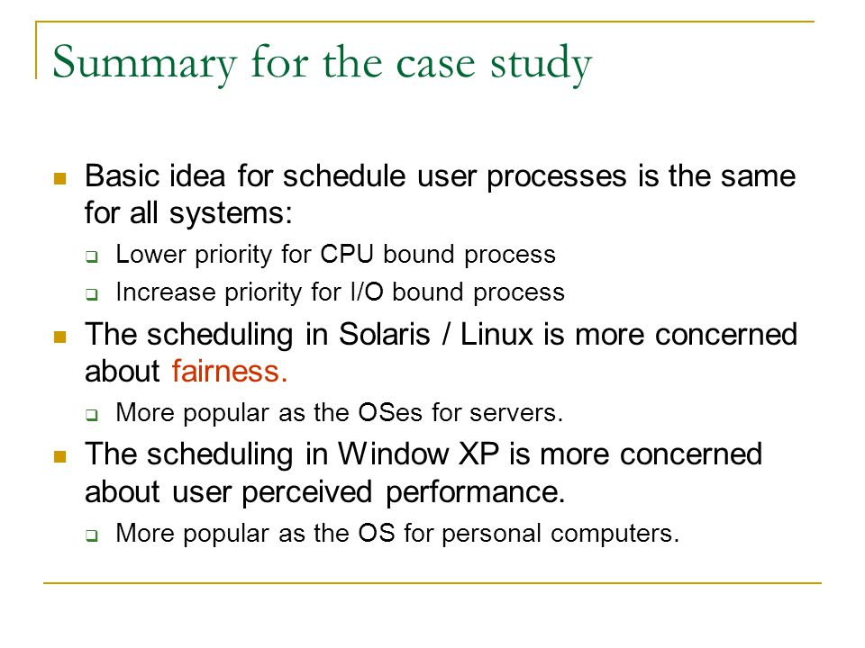 Summary for the case study