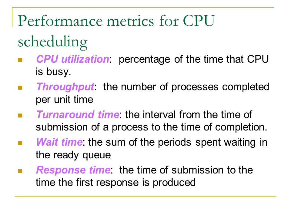 Performance metrics for CPU scheduling