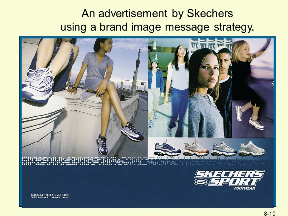 An advertisement by Skechers using a brand image message strategy.