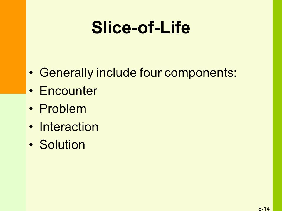 Slice-of-Life Generally include four components: Encounter Problem