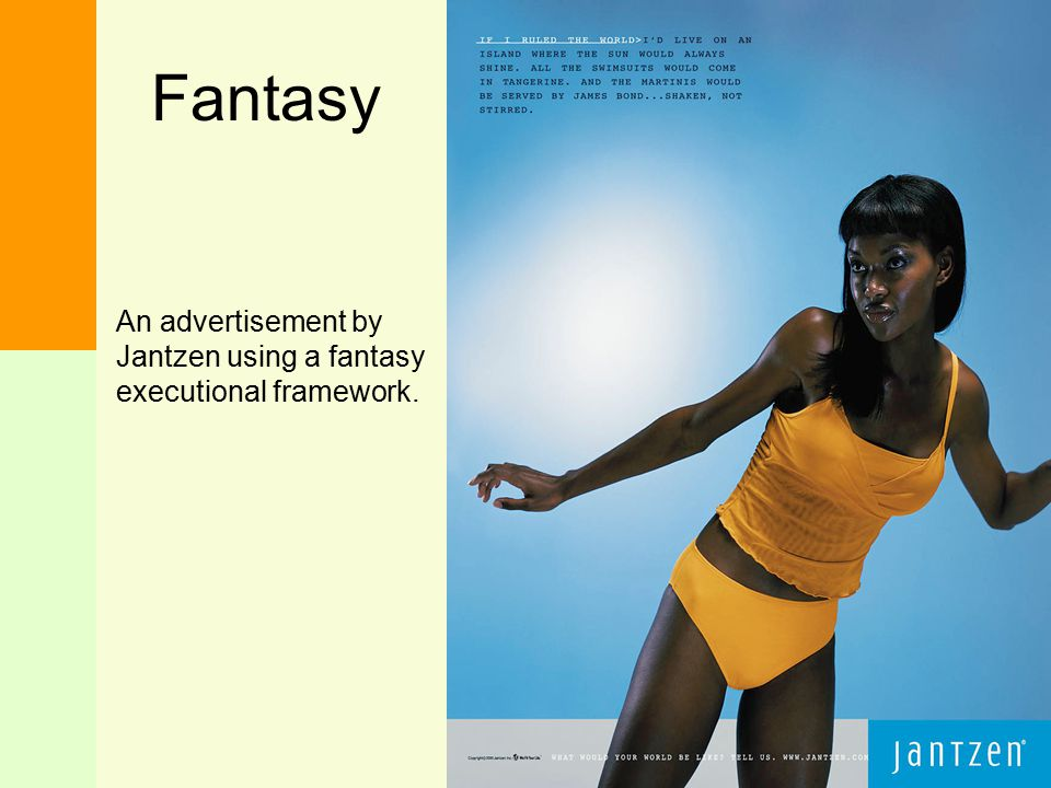 Fantasy An advertisement by Jantzen using a fantasy executional framework.
