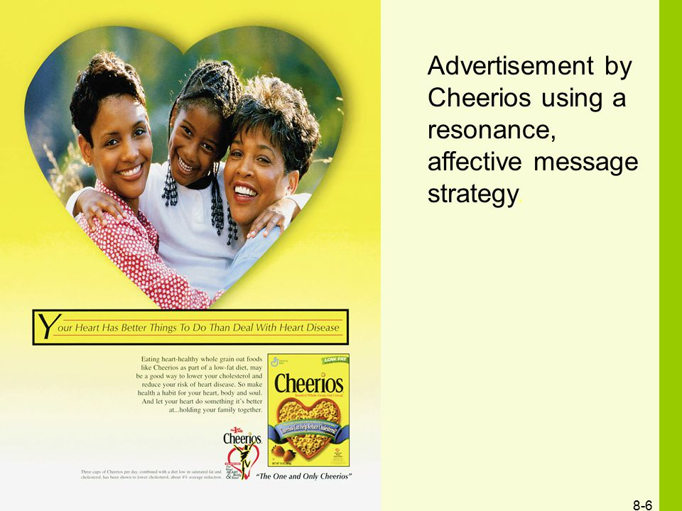 Advertisement by Cheerios using a resonance, affective message strategy.