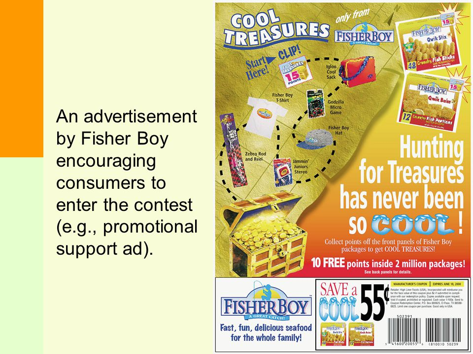 An advertisement by Fisher Boy encouraging consumers to enter the contest (e.g., promotional support ad).