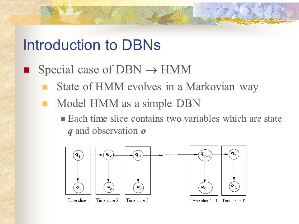 Introduction to DBNs Special case of DBN  HMM