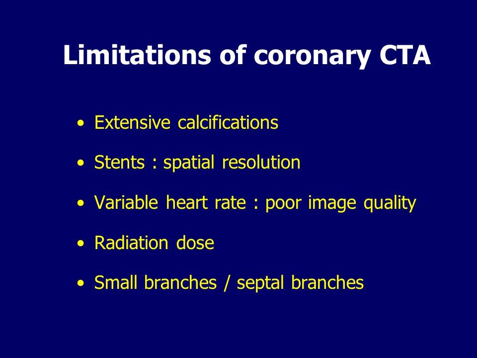 Limitations of coronary CTA