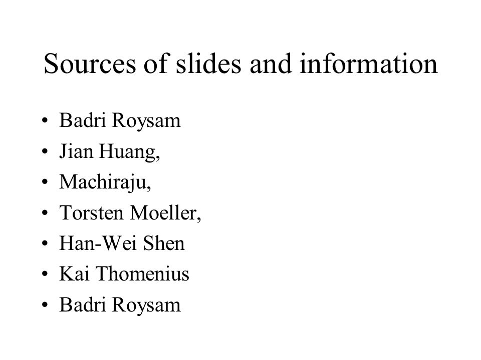 Sources of slides and information