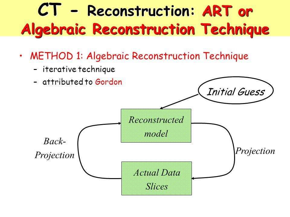 CT - Reconstruction: ART or Algebraic Reconstruction Technique