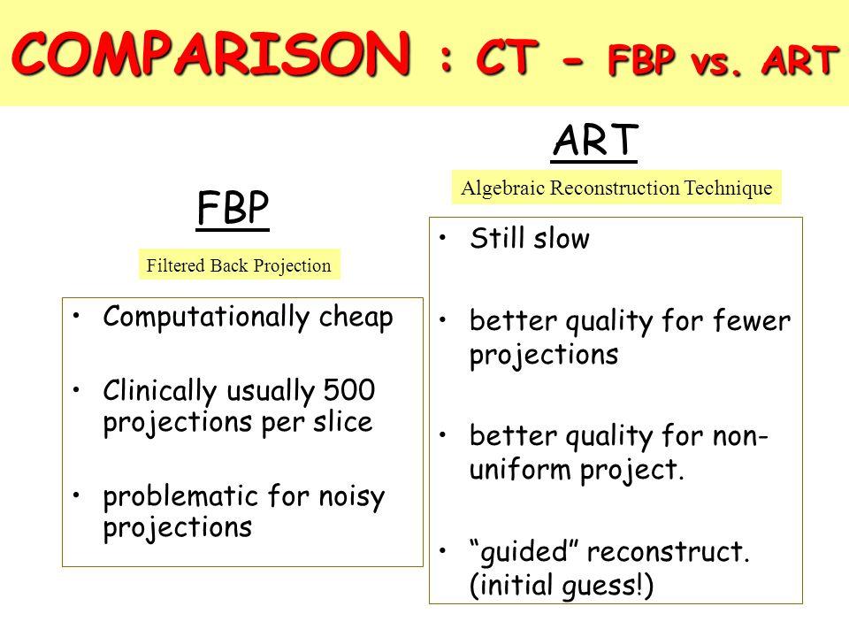 COMPARISON : CT - FBP vs. ART