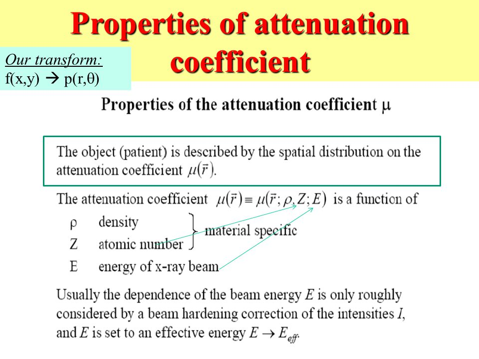 Properties of attenuation coefficient