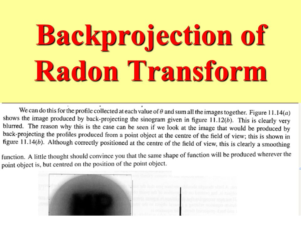 Backprojection of Radon Transform