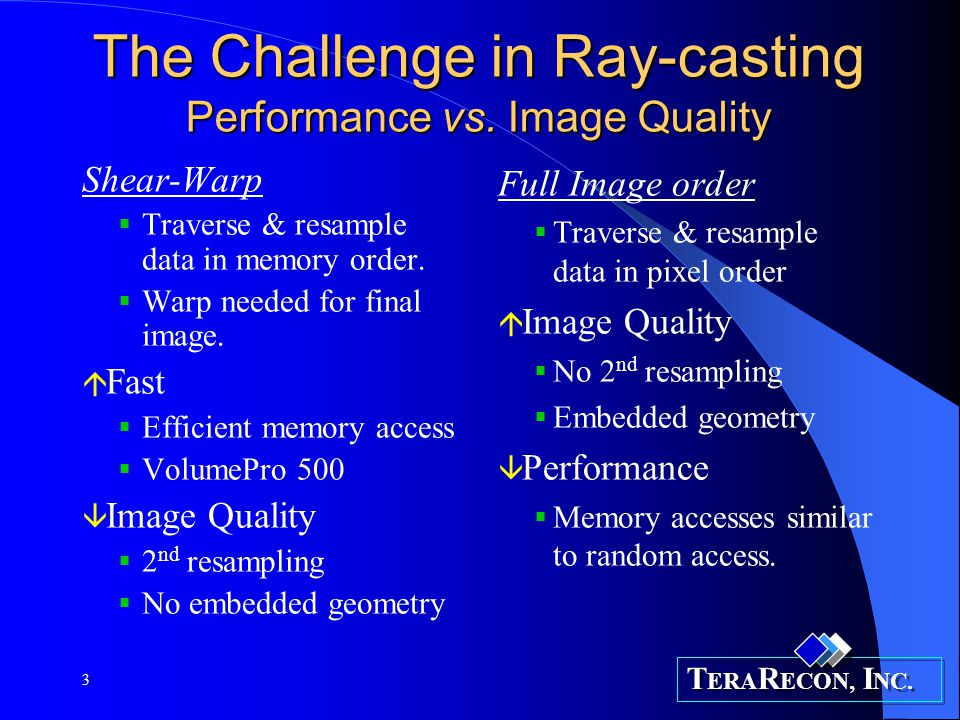 The Challenge in Ray-casting Performance vs. Image Quality