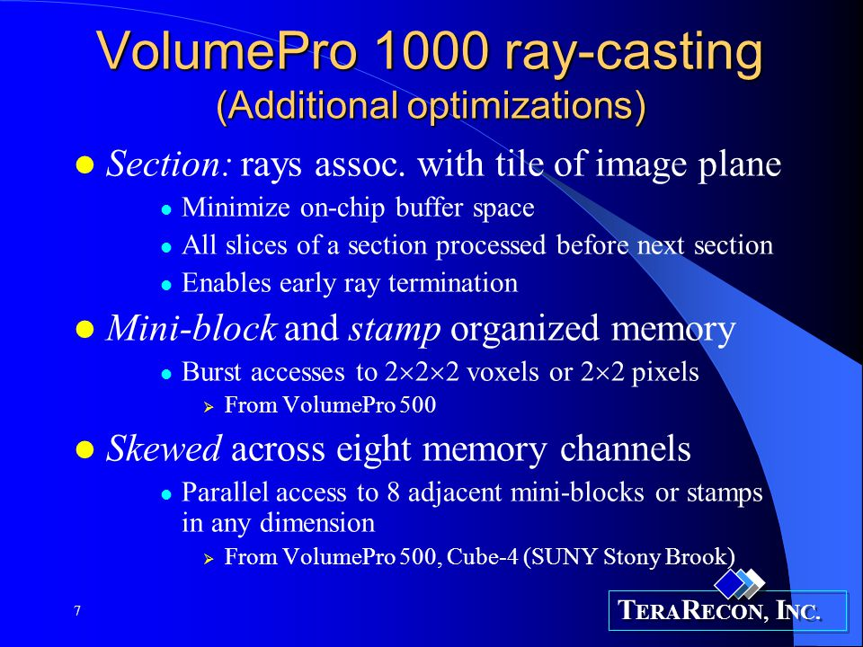 VolumePro 1000 ray-casting (Additional optimizations)