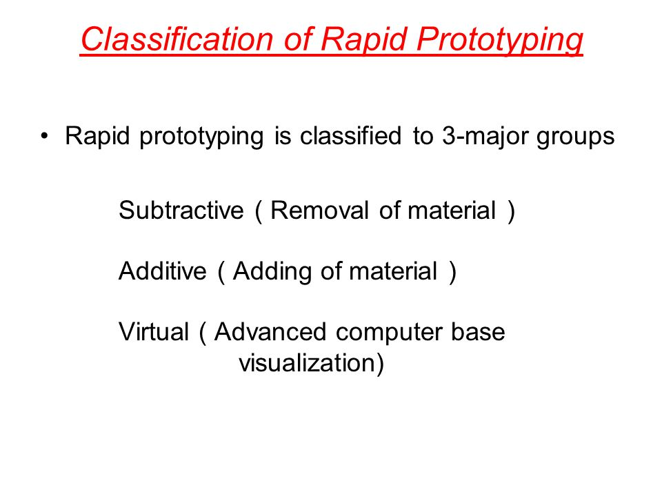 Classification of Rapid Prototyping