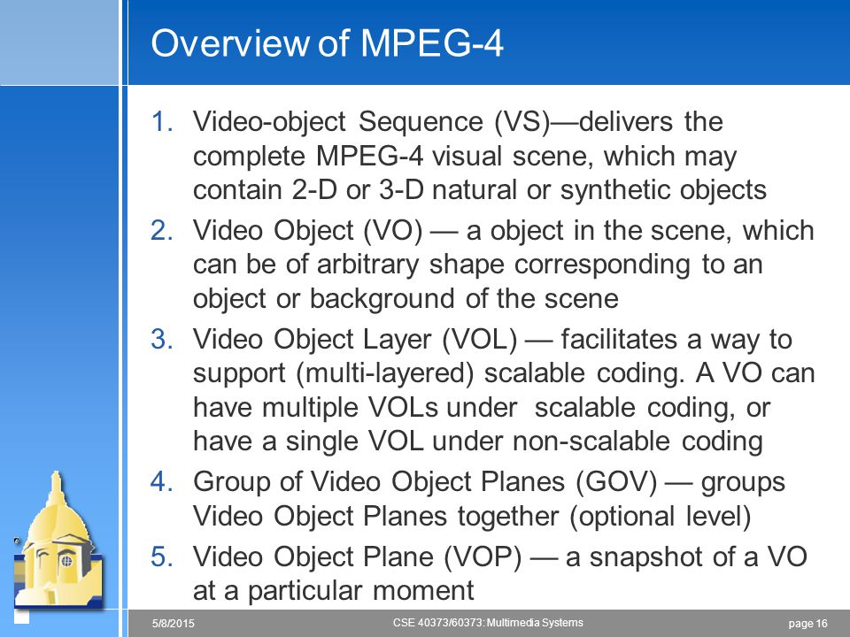 Overview of MPEG-4 Video-object Sequence (VS)—delivers the complete MPEG-4 visual scene, which may contain 2-D or 3-D natural or synthetic objects.