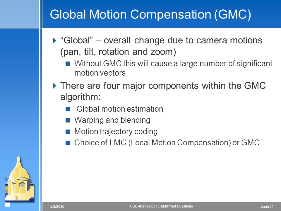 Global Motion Compensation (GMC)