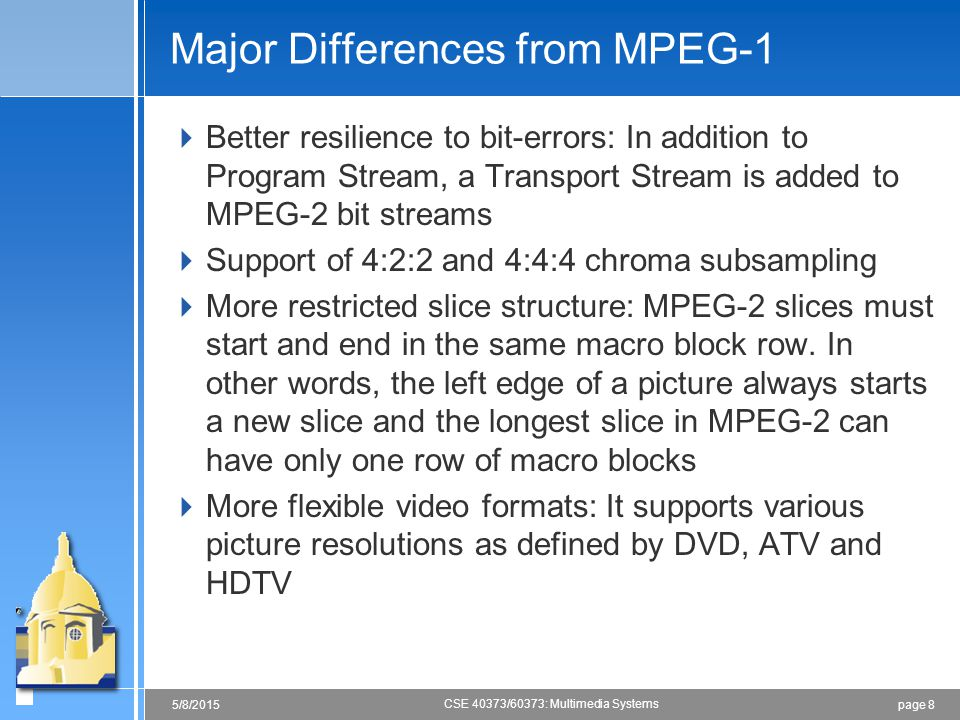Major Differences from MPEG-1