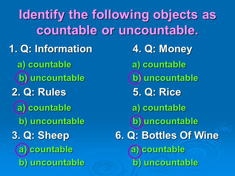 Identify the following objects as countable or uncountable.