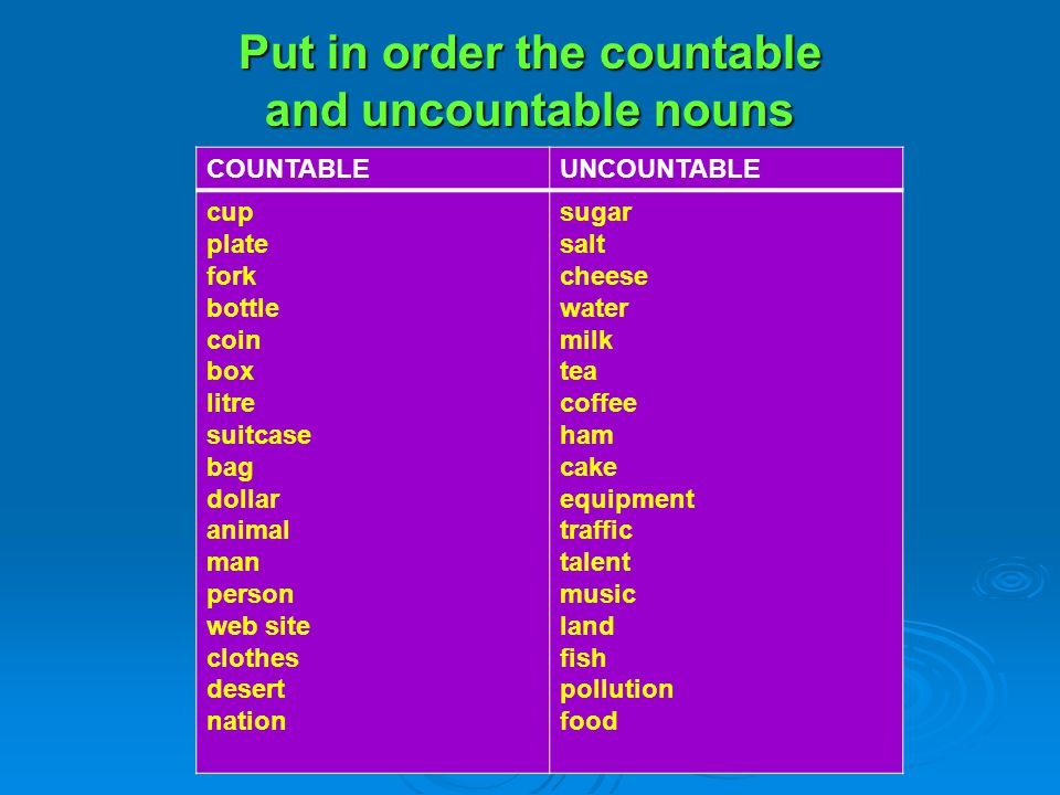 Put in order the countable and uncountable nouns