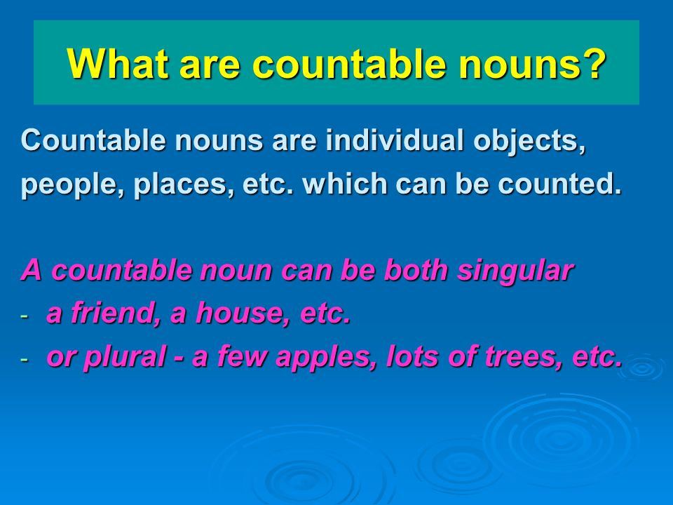 What are countable nouns
