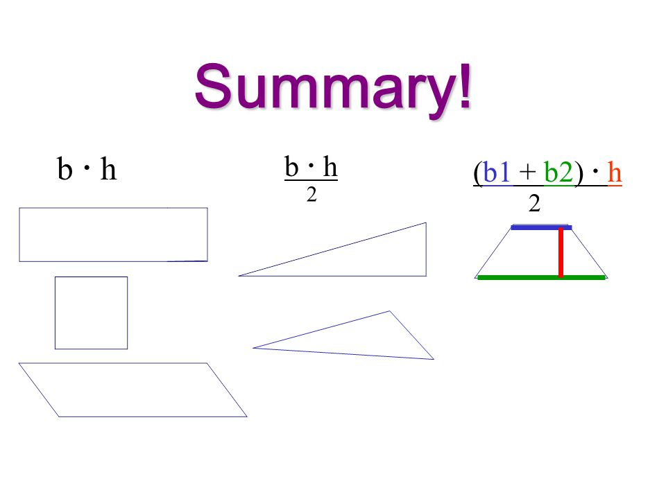 Summary! b  h b  h (b1 + b2)  h 2 2