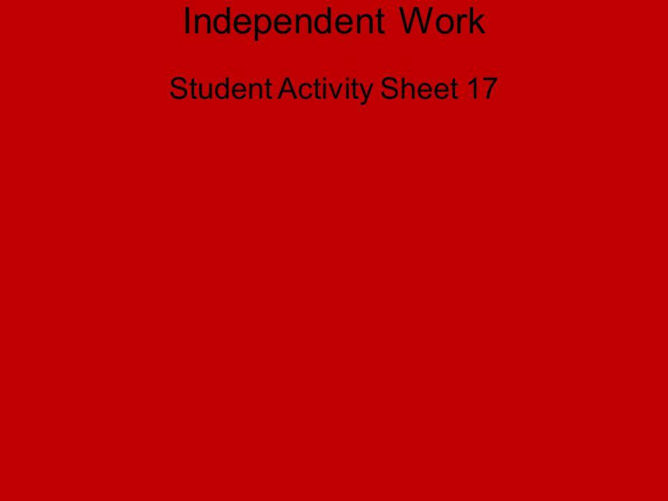 Student Activity Sheet 17