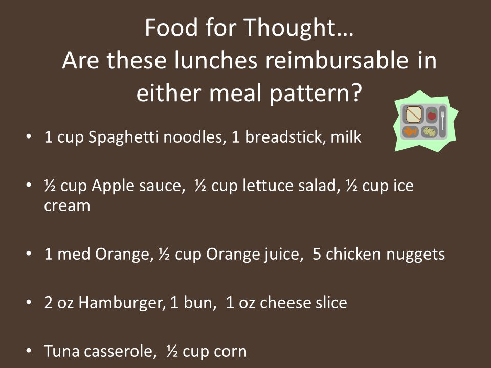 Food for Thought… Are these lunches reimbursable in either meal pattern