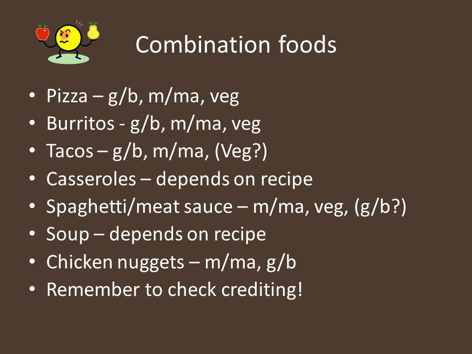 Combination foods Pizza – g/b, m/ma, veg Burritos - g/b, m/ma, veg