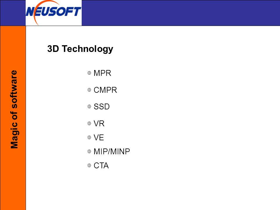 3D Technology Magic of software ◎ MPR ◎ CMPR ◎ SSD ◎ VR ◎ VE
