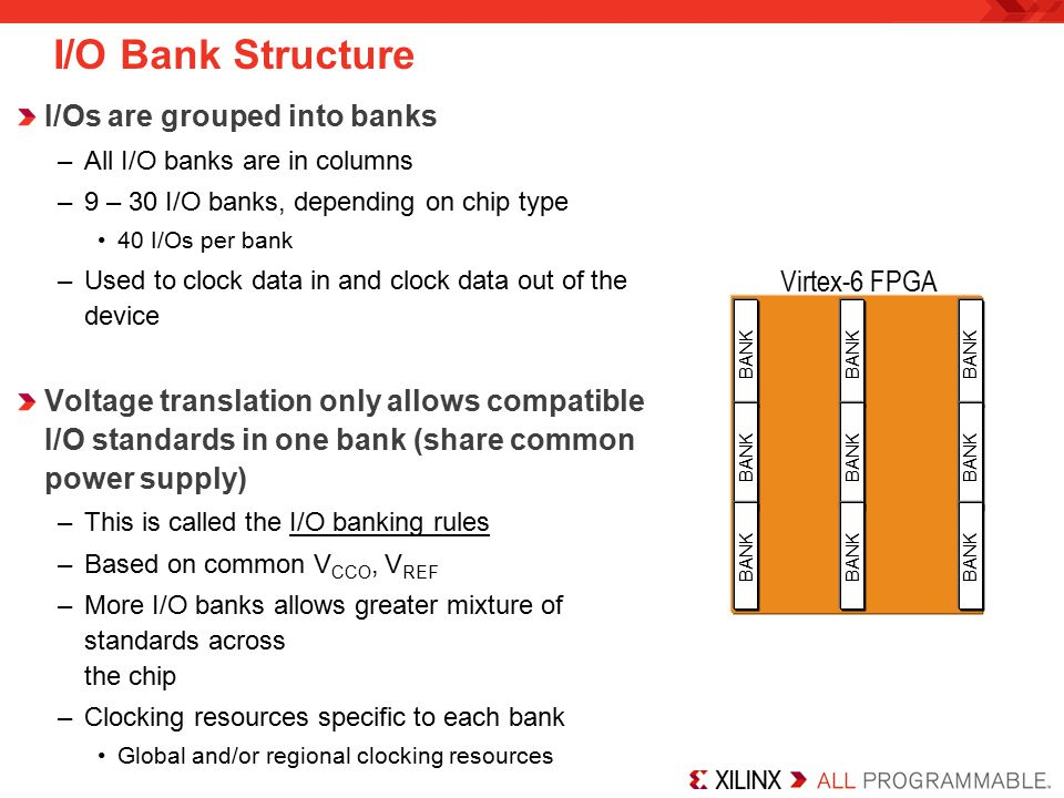 I/O Bank Structure I/Os are grouped into banks