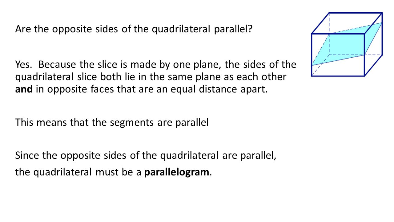 Are the opposite sides of the quadrilateral parallel. Yes