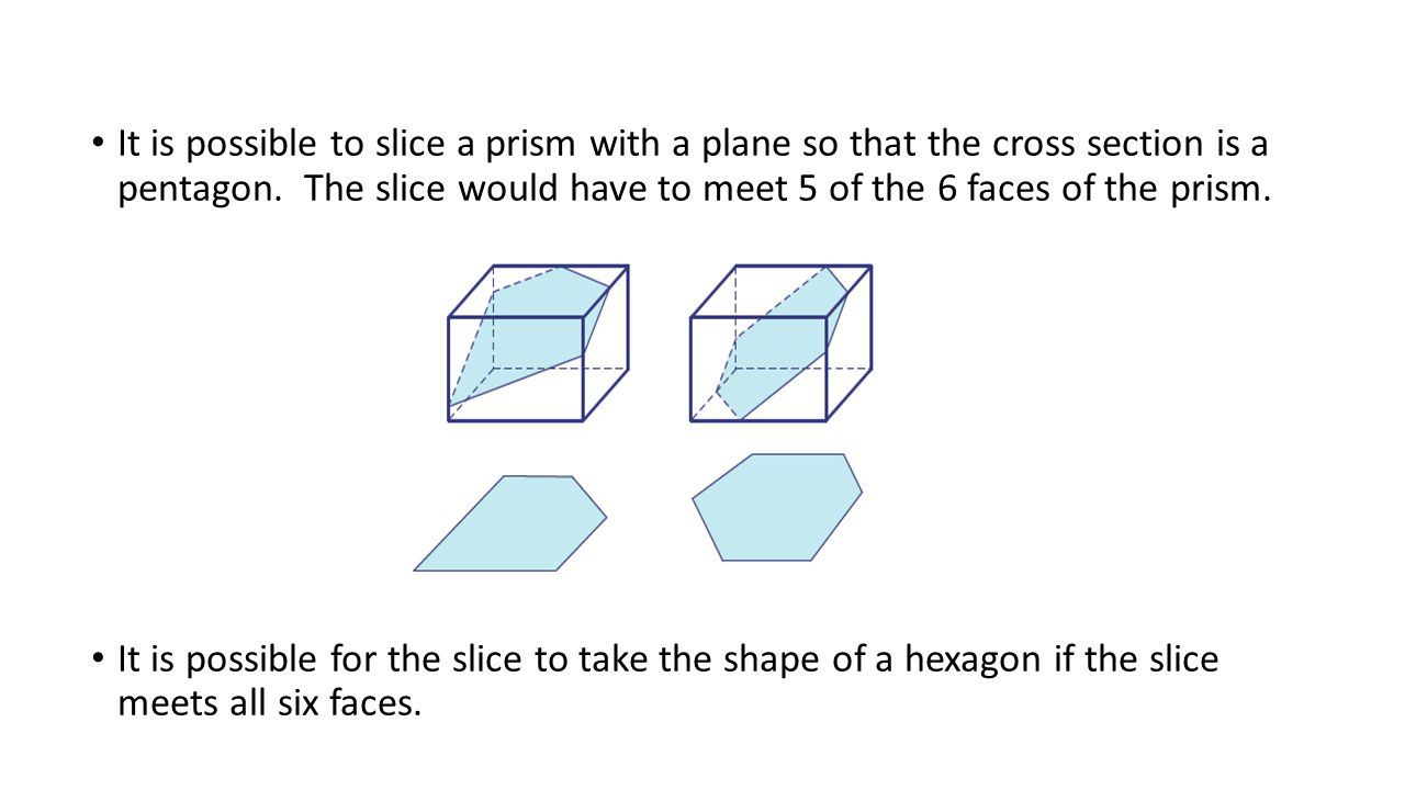 It is possible to slice a prism with a plane so that the cross section is a pentagon. The slice would have to meet 5 of the 6 faces of the prism.