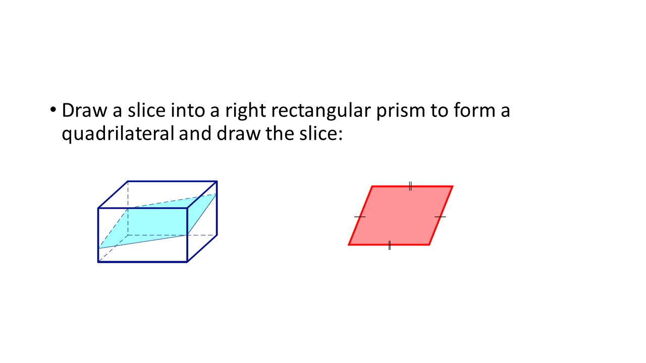 Draw a slice into a right rectangular prism to form a quadrilateral and draw the slice: