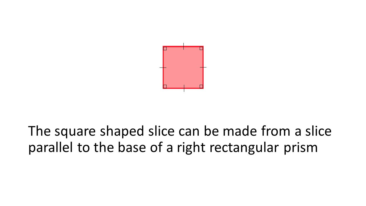 The square shaped slice can be made from a slice parallel to the base of a right rectangular prism