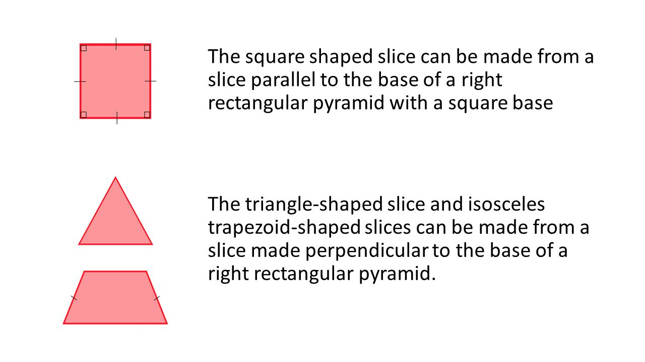 The square shaped slice can be made from a slice parallel to the base of a right rectangular pyramid with a square base