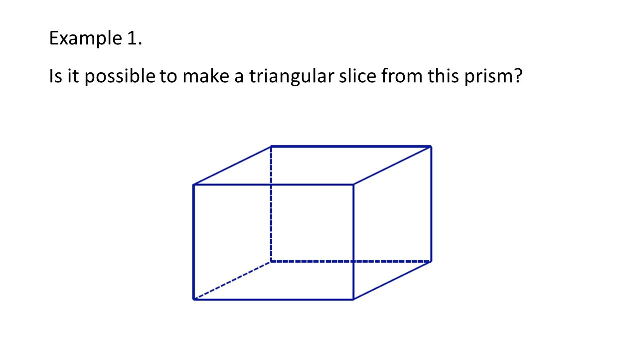 Example 1. Is it possible to make a triangular slice from this prism