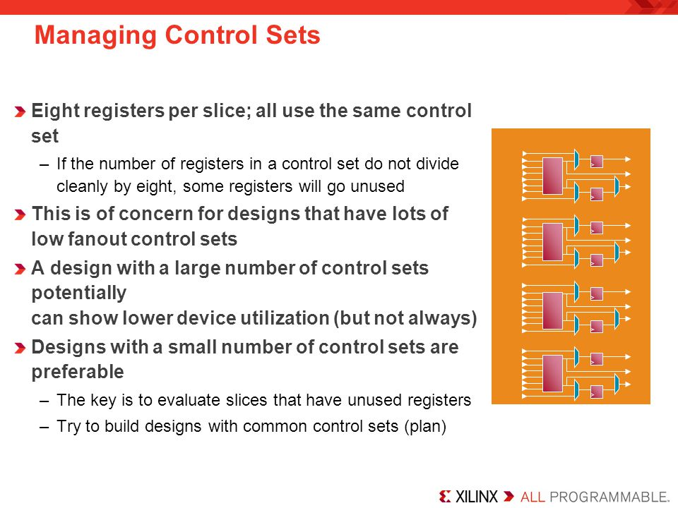Managing Control Sets Eight registers per slice; all use the same control set.