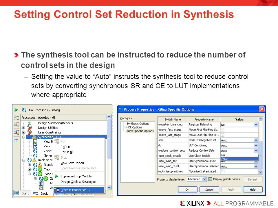 Setting Control Set Reduction in Synthesis